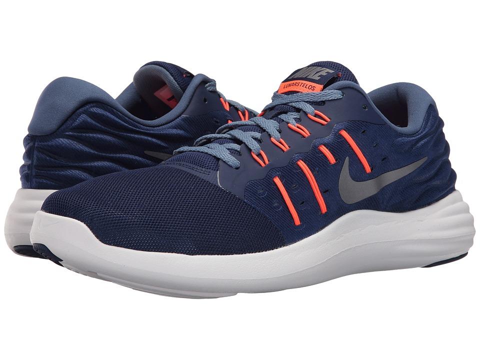 Nike - Lunarstelos (Loyal Blue/Metallic Cool Grey/Ocean Fog/Total Orange) Men's Running Shoes