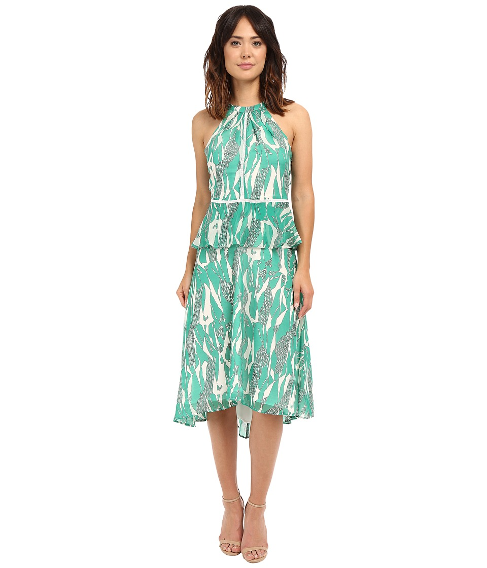Adelyn Rae - Midi Printed Peplum Dress (Green) Women's Dress