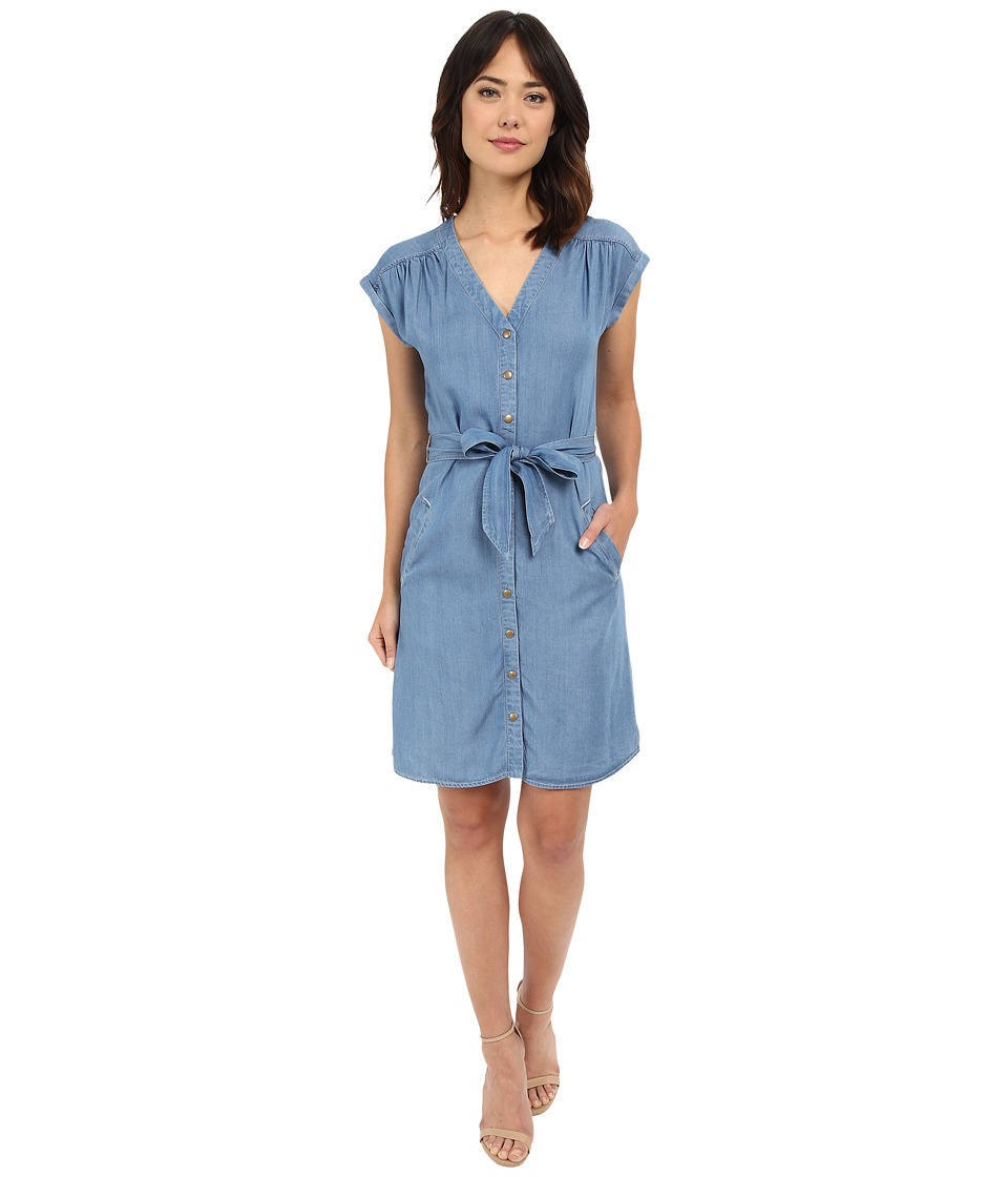 Sangria - Short Sleeve Chambray Shift Dress (Blue) Women's Dress