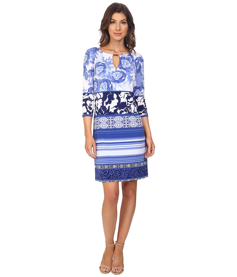 Sangria - 3/4 Sleeve Mixed Print Jersey Shift Dress (Tanzanite) Women's Dress