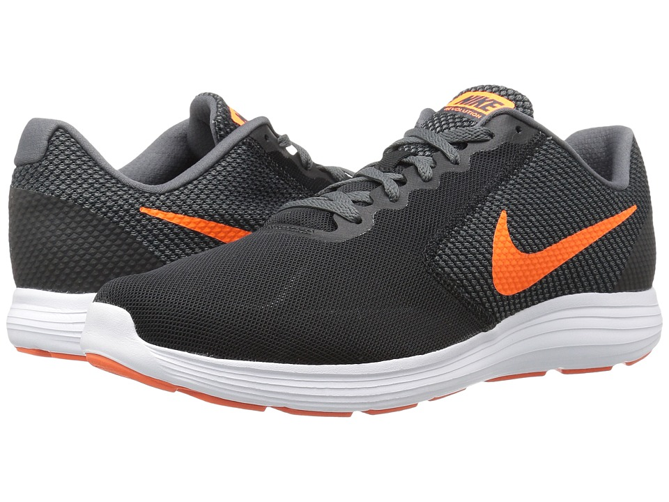 Nike - Revolution 3 (Black/Dark Grey/Turf Orange/Total Orange) Men's Running Shoes