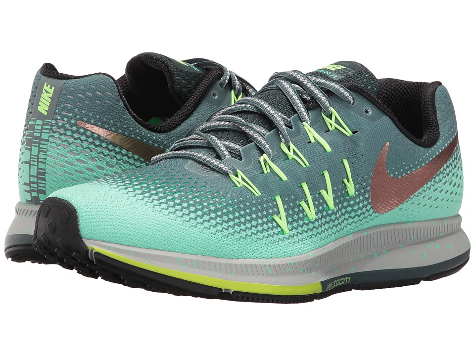 Nike - Air Zoom Pegasus 33 Shield (Hasta/Green Glow/Ghost Green/Metallic Red Bronze) Women's Running Shoes