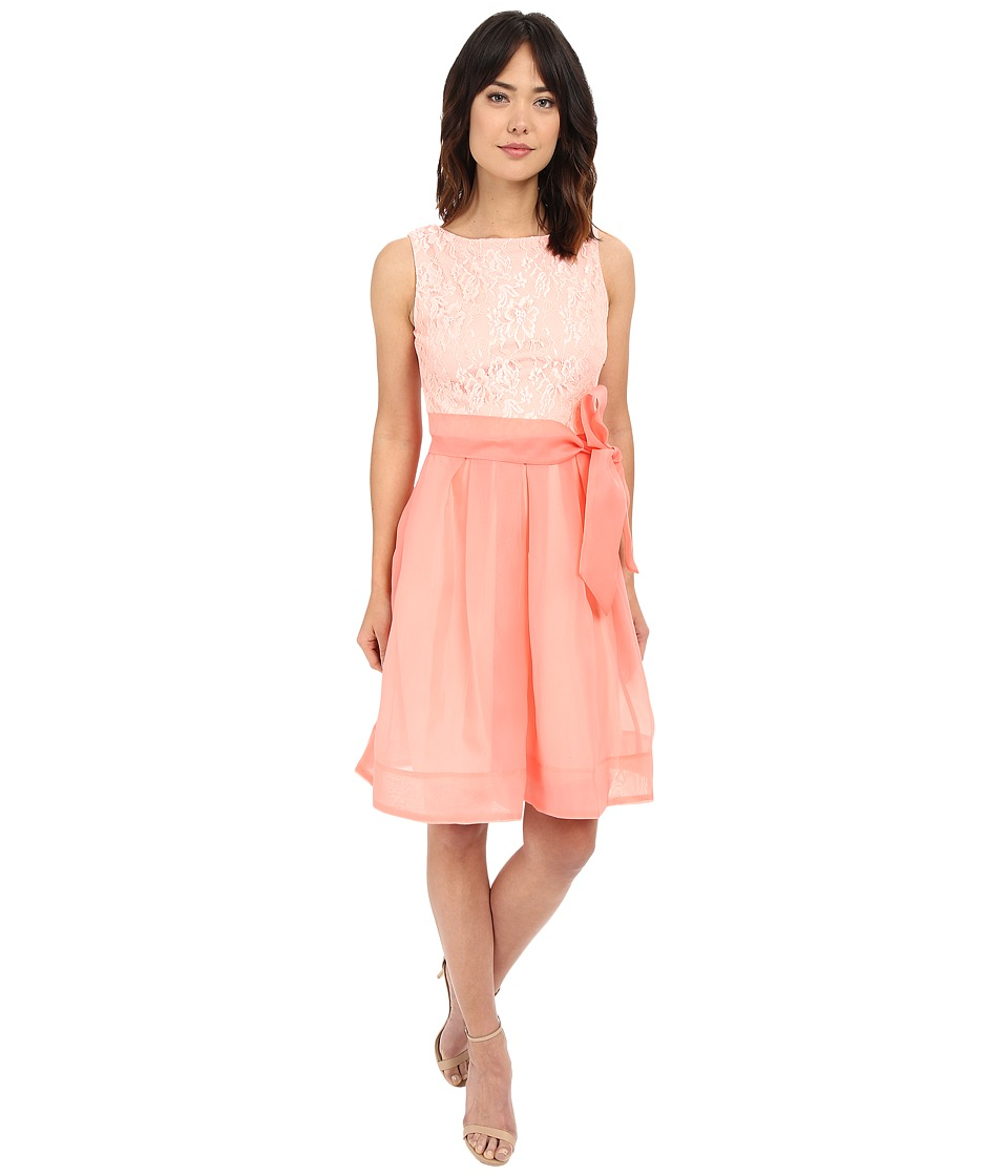 Sangria - Lace and Organza Fit Flare Dress w/ Self Tie Belt (Hibiscus) Women's Dress