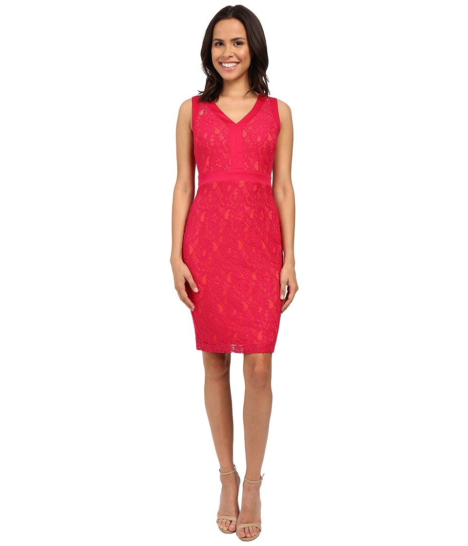Sangria - V-Neck Lace Sheath Dress w/ Contrast Lining (Fuchsia Rose) Women's Dress