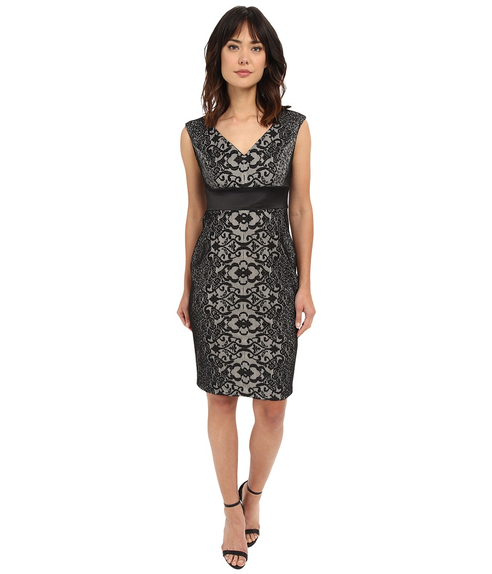 Sangria - V-Neck Lace Sheath Dress w/ Inset Waist (Black/Putty) Women's Dress