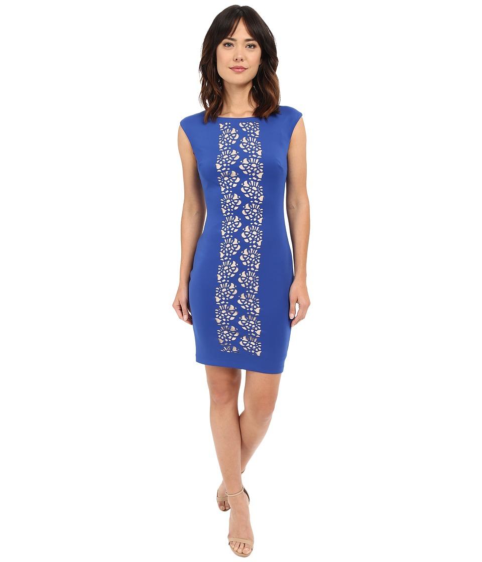 Sangria - Center Laser Cut Detail Scuba Sheath Dress (Cobalt) Women's Dress