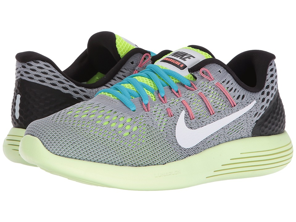 Nike - Lunarglide 8 (Wolf Grey/Volt/Gamma Blue/White) Women's Running Shoes