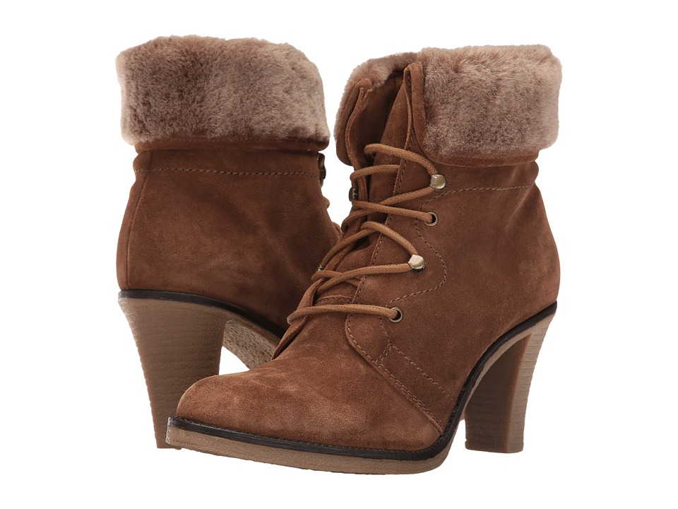 Johnston & Murphy - Jasmine (Cocoa Suede/Natural Shearling) Women's Lace-up Boots