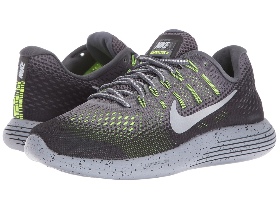 Nike - LunarGlide 8 Shield (Dark Grey/Metallic Silver/Black/Volt) Women's Running Shoes