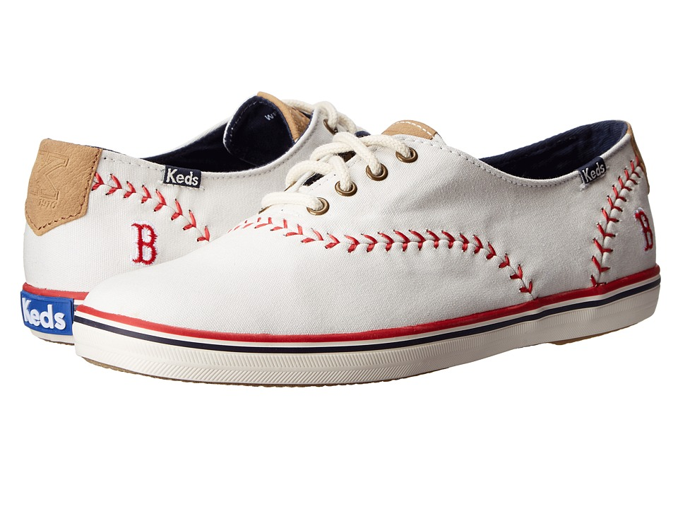 Keds - Champion MLB Pennant - Red Sox (White Canvas) Women's Lace up casual Shoes