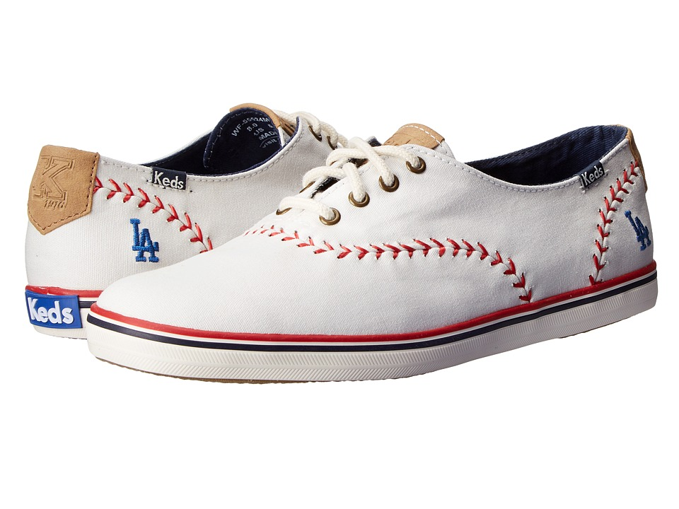 Keds - Champion MLB Pennant - Dodgers (White Canvas) Women's Lace up casual Shoes