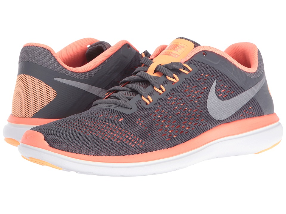 Nike - Flex 2016 RN (Dark Grey/Bright Mango/White/Metallic Cool Grey) Women's Running Shoes