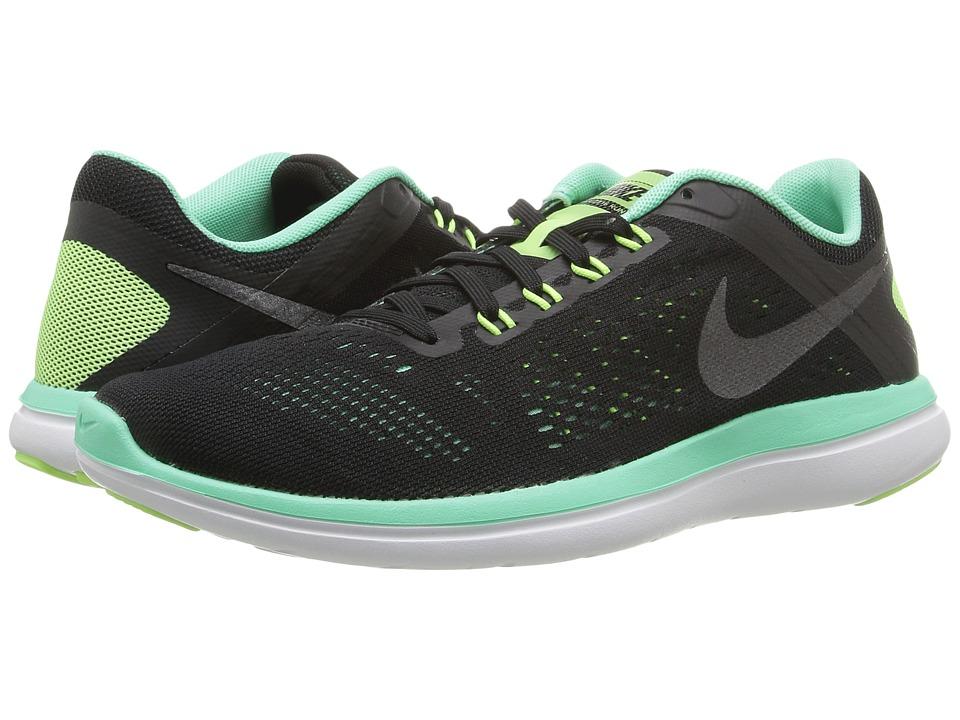 Nike - Flex 2016 RN (Black/Green Glow/White/Metallic Dark Grey) Women's Running Shoes