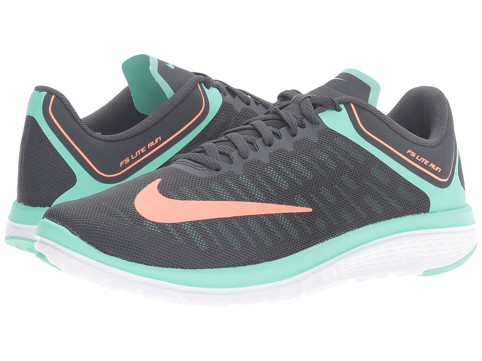 Nike - FS Lite Run 4 (Anthracite/Green Glow/White/Bright Mango) Women's Shoes