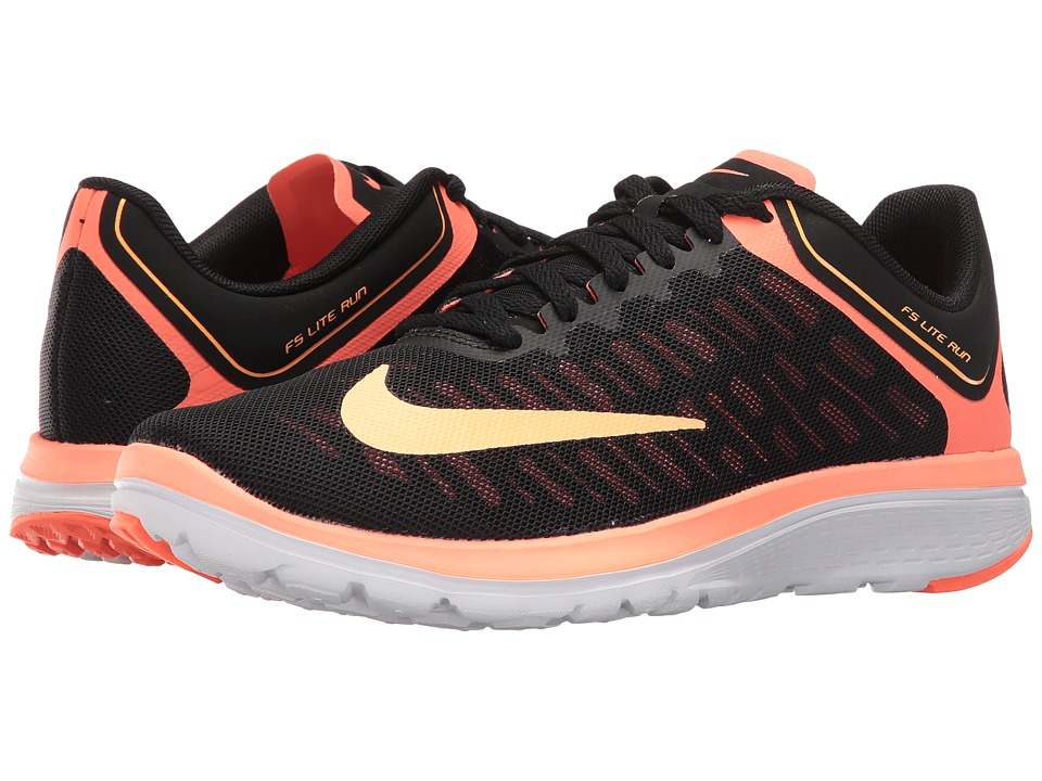 Nike - FS Lite Run 4 (Black/Bright Mango/White/Peach Cream) Women's Shoes