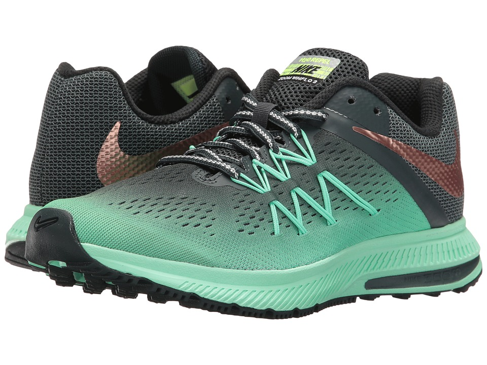 Nike - Air Zoom Winflo 3 Shield (Green Glow/Metallic Red Bronze/Seaweed/Hasta) Women's Shoes