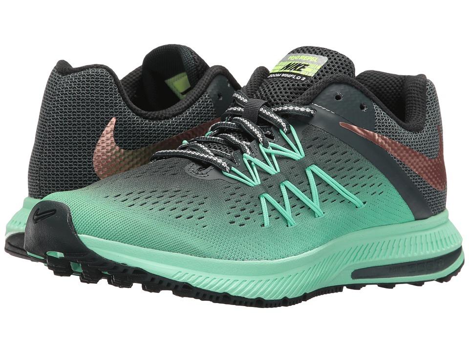 Nike - Air Zoom Winflo 3 Shield (Green Glow/Metallic Red Bronze/Seaweed/Hasta) Women's Shoes