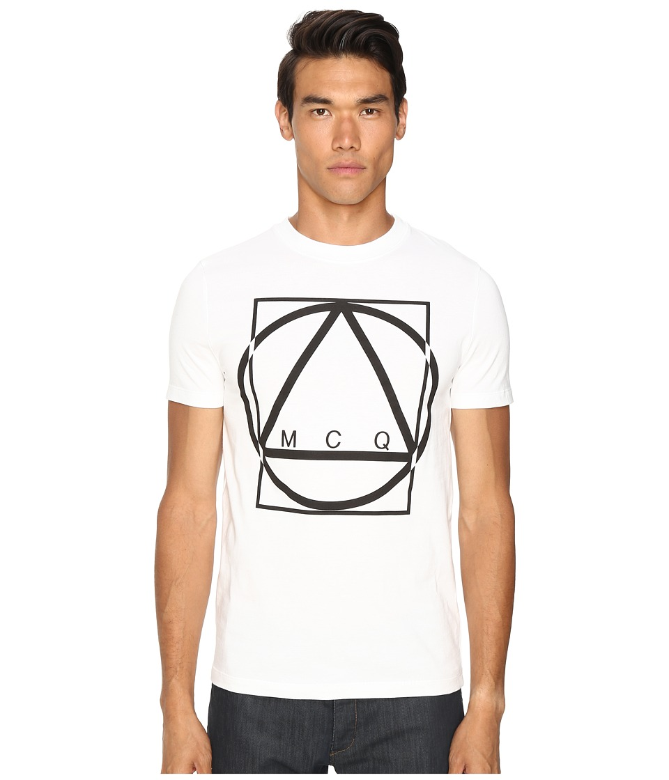 McQ - Short Sleeve Crew Tee (White/Black) Men's T Shirt