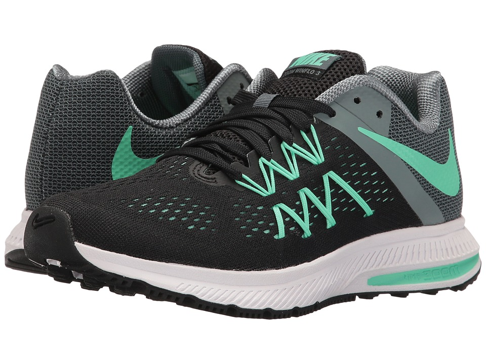 Nike - Zoom Winflo 3 (Black/Hasta/White/Green Glow) Women's Running Shoes