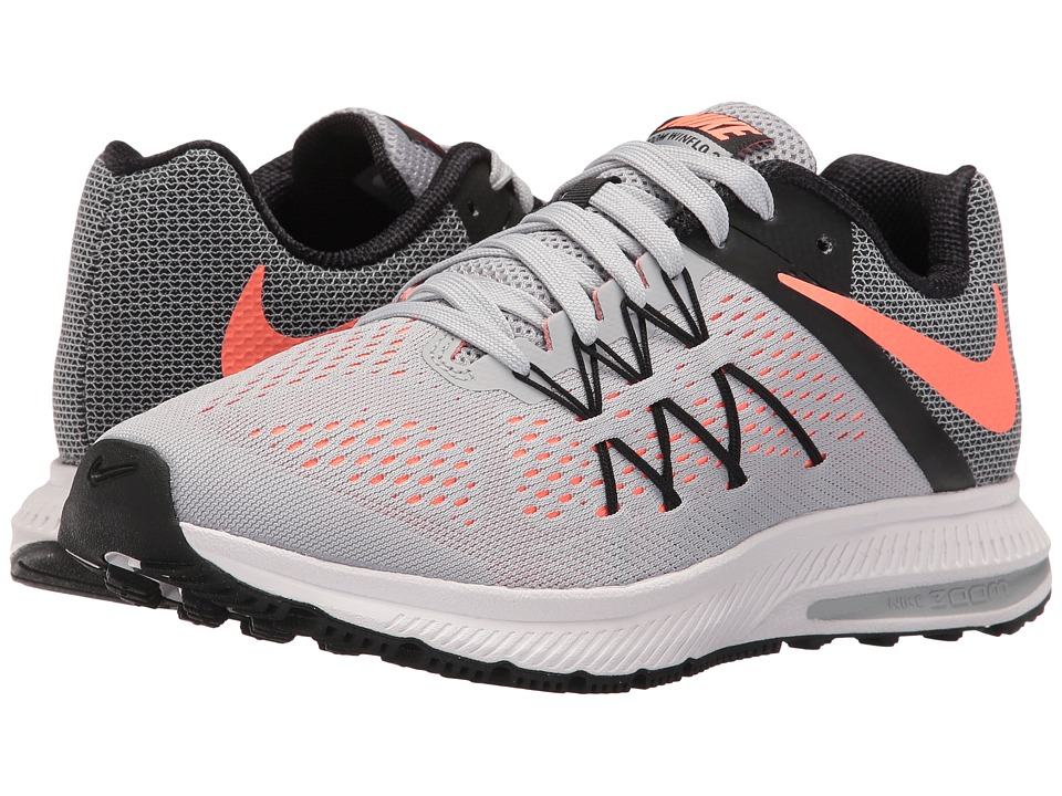 Nike - Zoom Winflo 3 (Wolf Grey/Black/White/Bright Mango) Women's Running Shoes