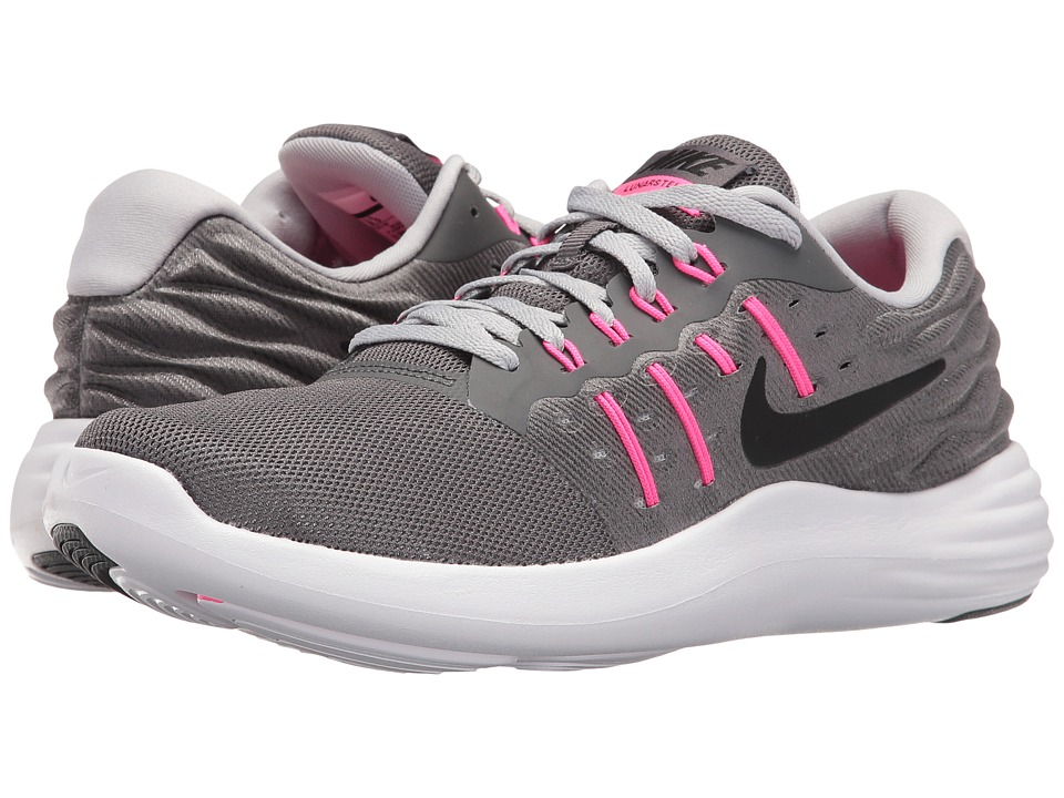 Nike - Lunarstelos (Dark Grey/Wolf Grey/Pink Blast/Black) Women's Running Shoes