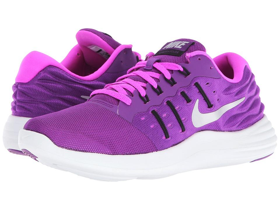 Nike - Lunarstelos (Bright Grape/Fire Pink/Black/Metallic Silver) Women's Running Shoes