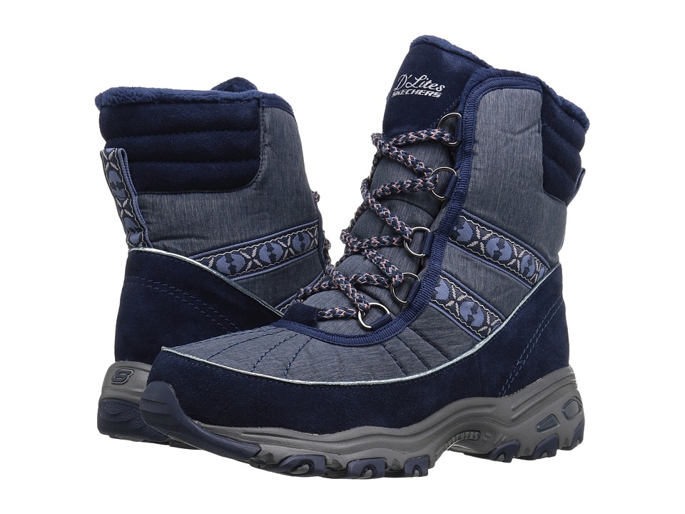 SKECHERS - D'Lites - Chateau (Navy) Women's Lace-up Boots