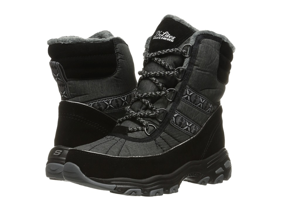 SKECHERS - D'Lites - Chateau (Black) Women's Lace-up Boots