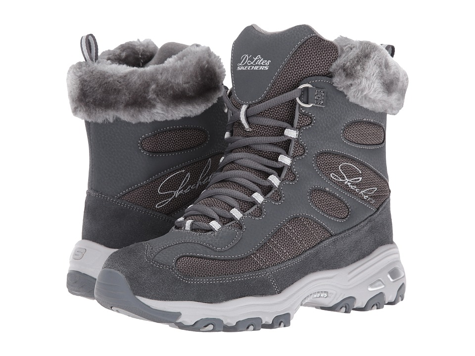 SKECHERS - D'Lites - Chalet (Charcoal) Women's Lace-up Boots