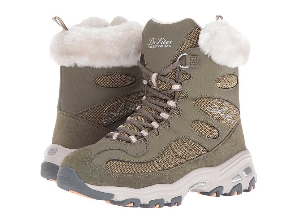 SKECHERS - D'Lites - Chalet (Olive) Women's Lace-up Boots