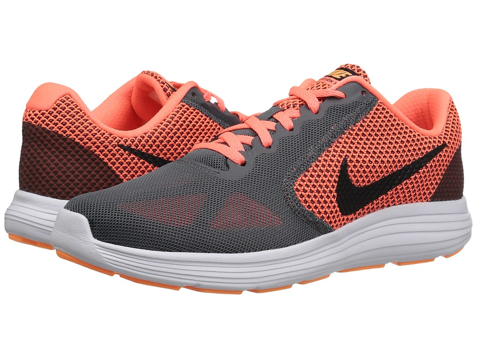 Nike - Revolution 3 (Dark Grey/Bright Mango/Peach Cream/Black) Women's Running Shoes
