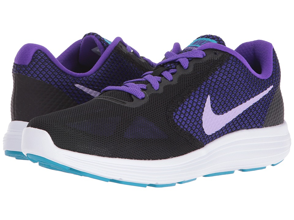 Nike - Revolution 3 (Black/Fierce Purple/Blue Lagoon/Urban Lilac) Women's Running Shoes