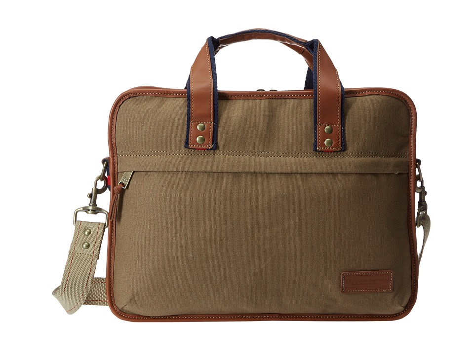 Tommy Hilfiger - Slim Brief (Single Gusset) (Khaki) Briefcase Bags