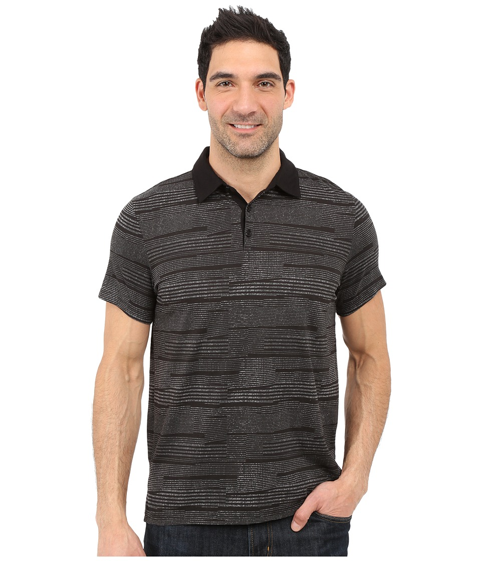 Calvin Klein - Slim Fit Broken-Stripe Polo Shirt (Black) Men's Clothing