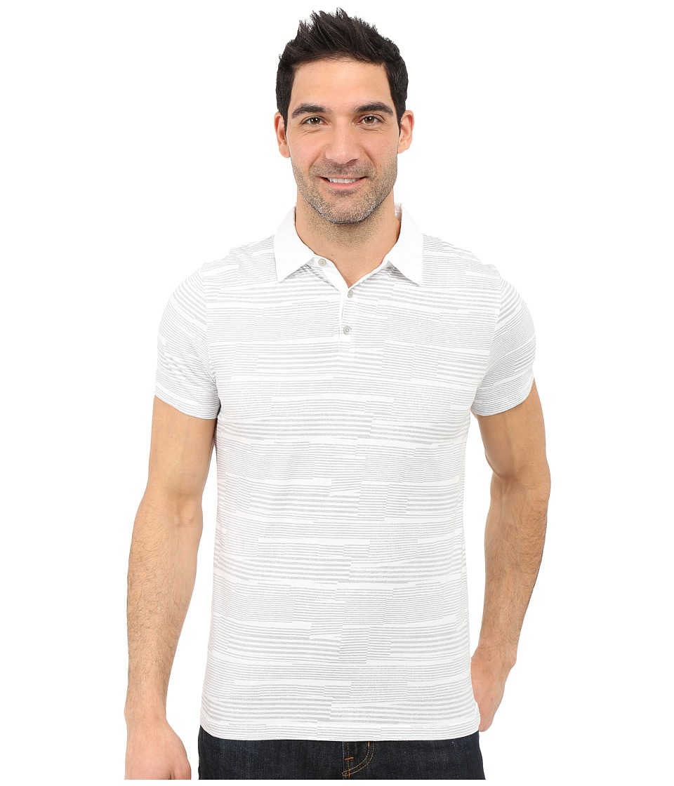 Calvin Klein - Slim Fit Broken-Stripe Polo Shirt (White) Men's Clothing