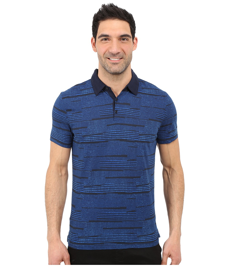 Calvin Klein - Slim Fit Broken-Stripe Polo Shirt (Navy Blazer) Men's Clothing