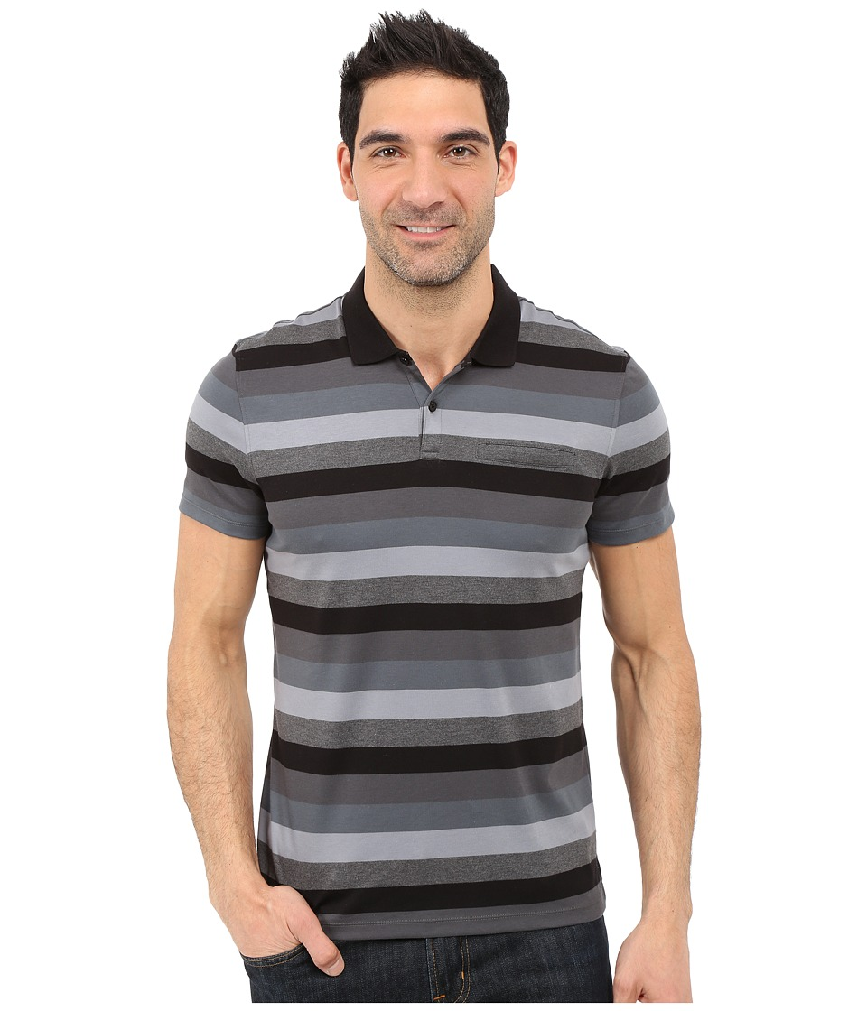 Calvin Klein - Classic Fit Cotton Wide Stripe Polo Shirt (Black) Men's Short Sleeve Pullover