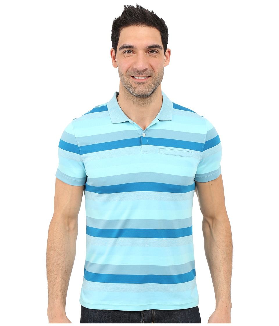 Calvin Klein - Classic Fit Cotton Wide Stripe Polo Shirt (Blue Topaz) Men's Short Sleeve Pullover