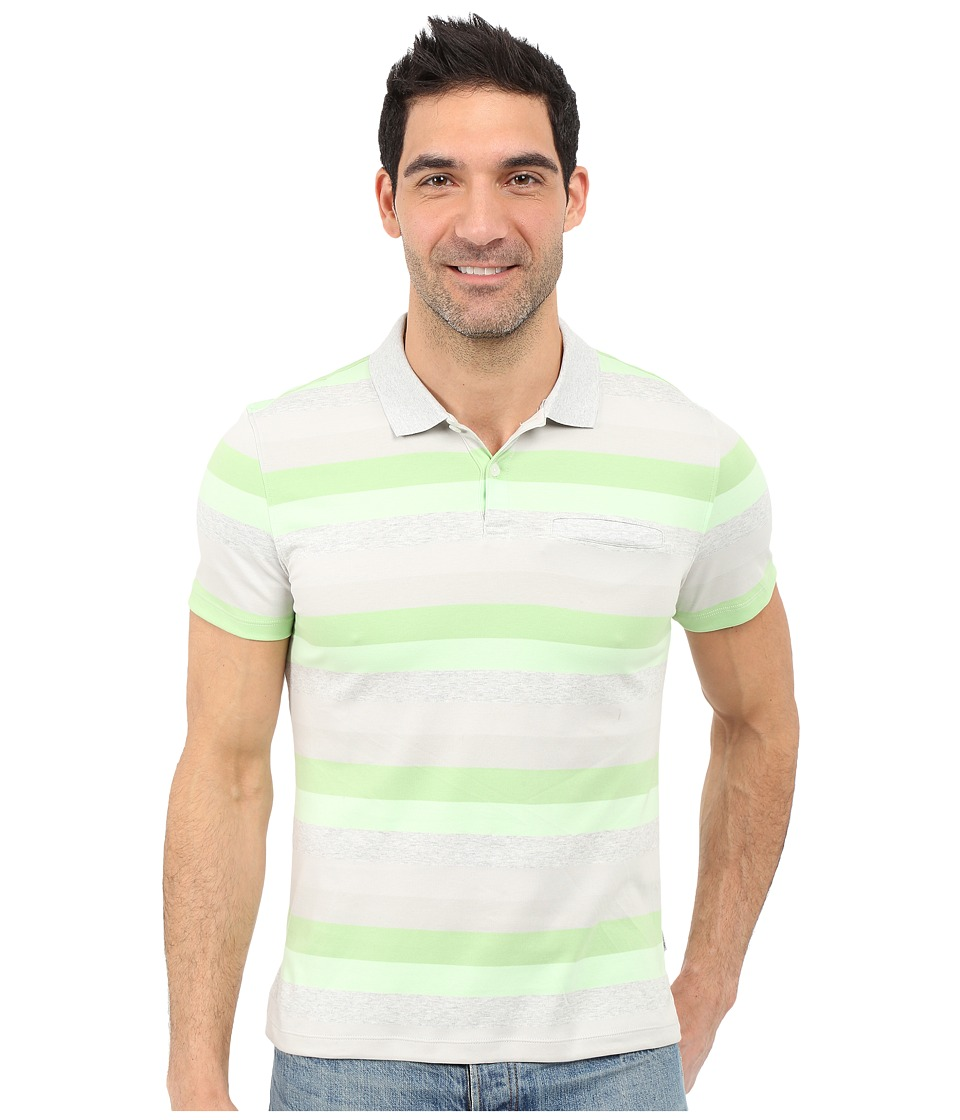 Calvin Klein - Classic Fit Cotton Wide Stripe Polo Shirt (Patina Green) Men's Short Sleeve Pullover
