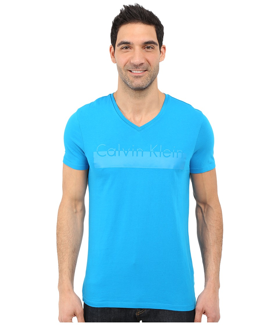 Calvin Klein - Short Sleeve Lamination Print (Methyl Blue) Men's Short Sleeve Pullover