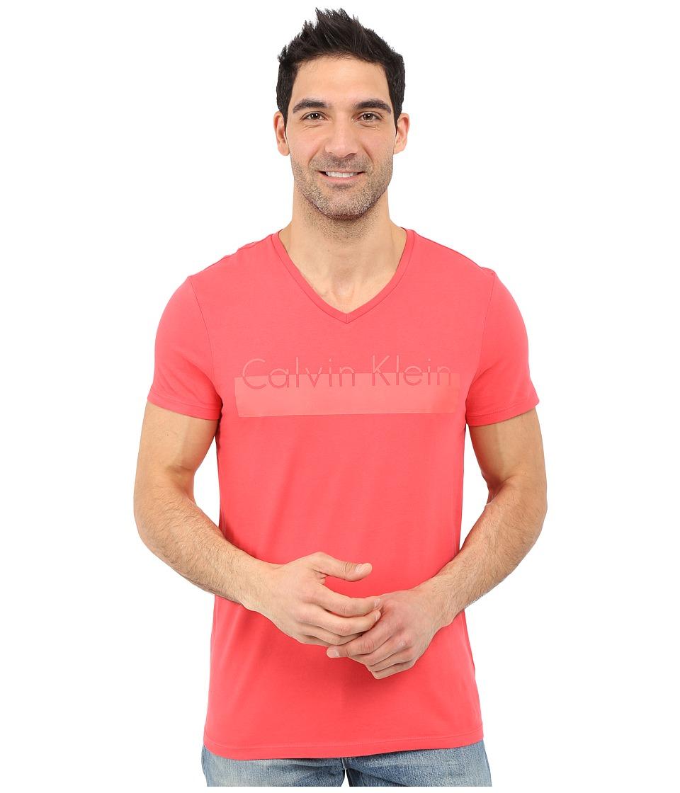 Calvin Klein - Short Sleeve Lamination Print (Geranium) Men's Short Sleeve Pullover