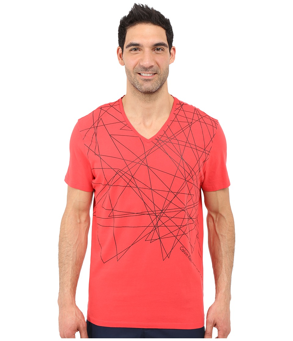 Calvin Klein - Short Sleeve Abstract Scatter (Tango) Men's Short Sleeve Pullover