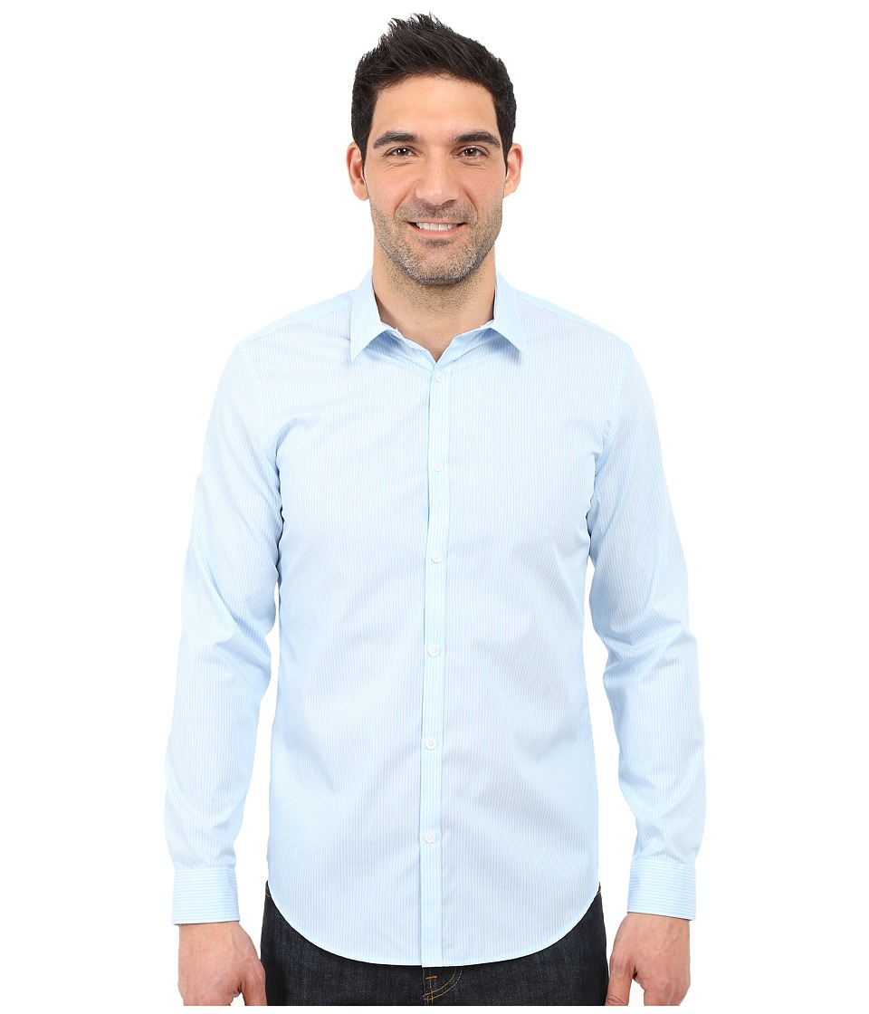 Calvin Klein - Infinite Cool Slim Fit Pinstripe Shirt (Placid Blue) Men's Long Sleeve Button Up