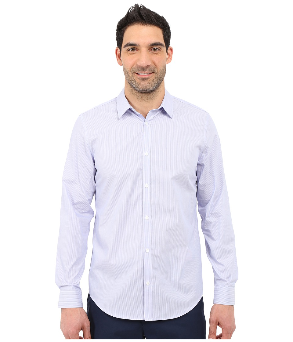 Calvin Klein - Classic Fit Cool Tech Non-Iron Striped Shirt (Purple Heather) Men's Long Sleeve Button Up