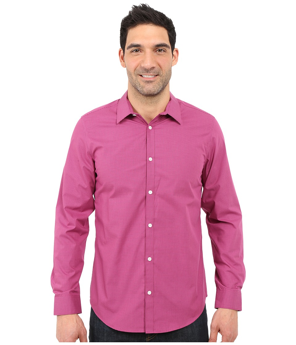 Calvin Klein - Classic Fit Cool Tech Non-Iron Checked Shirt (Dark Purple) Men's Long Sleeve Button Up