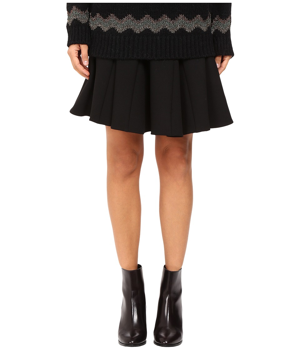 RED VALENTINO - Compact Stretch Wool (Black) Women's Skirt