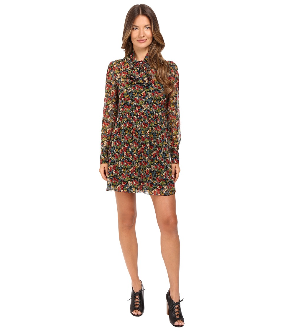 RED VALENTINO - Silk Crepe with Wild Flowers Print (Black) Women's Dress