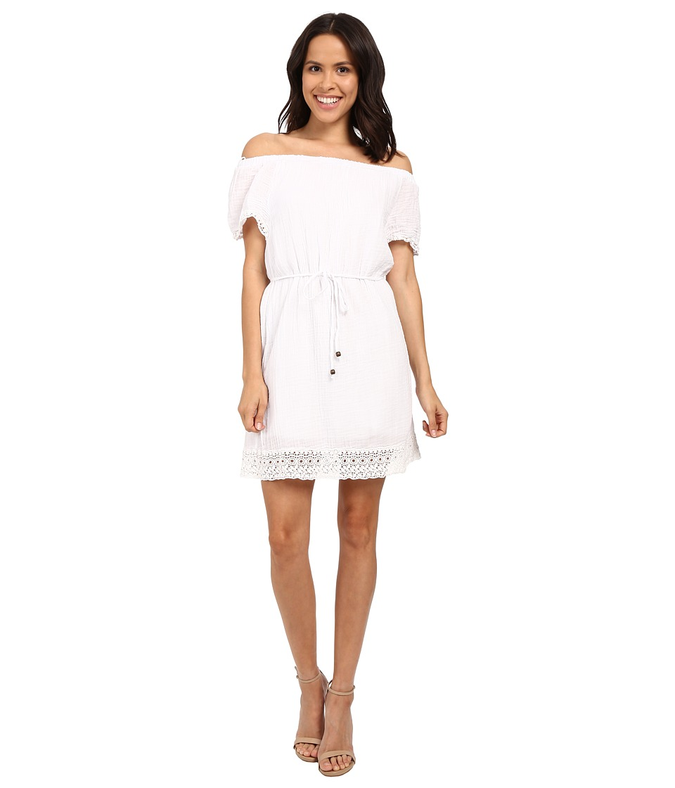Michael Stars Double Gauze Off Shoulder Dress w/ Crochet (White) Women