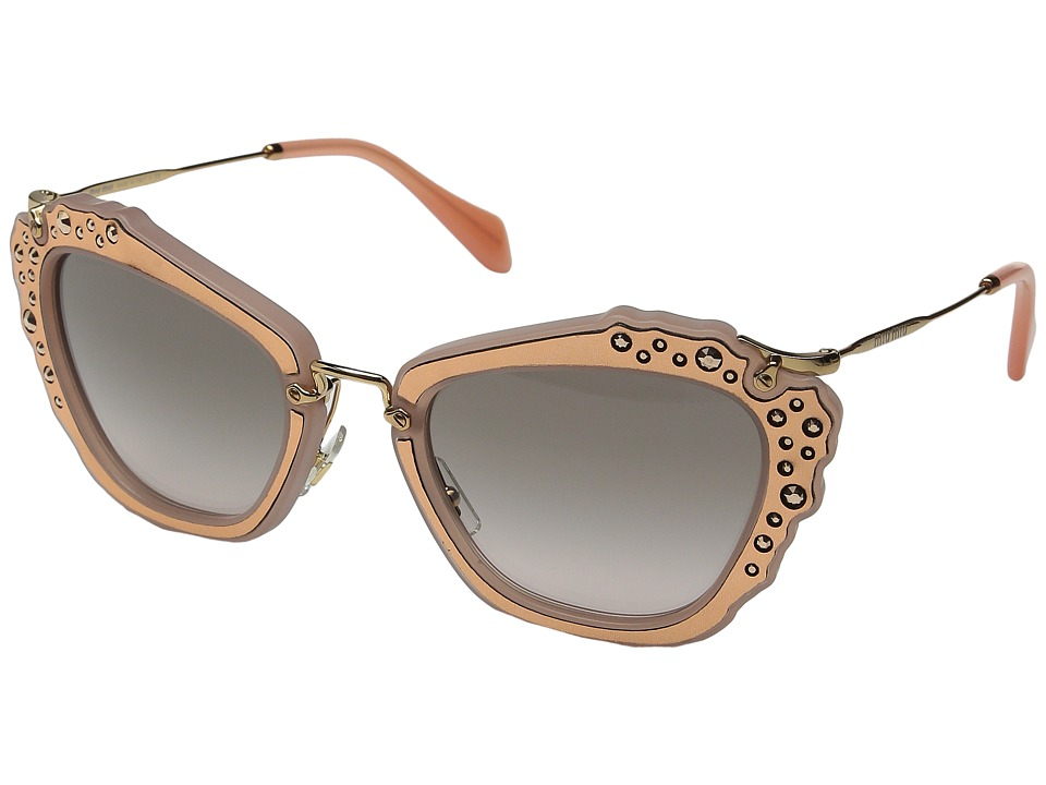 Miu Miu - 0MU 04QS (Rose Gold/Grey Gradient) Fashion Sunglasses