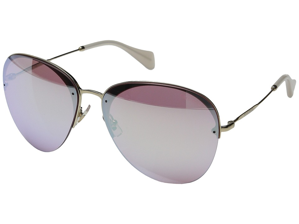 Miu Miu - 0MU 53PS (Pink/Rose Gold Mirror) Fashion Sunglasses